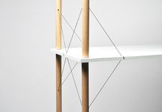 as a recent graduate from the school of art and design in reims, france, chinese designer siyuan zhang  has conceived his second piece of his 'wired' series, the 'wired shelf'. the shelving unit uses a metal   elastic connection as the main source for keeping the wooden assembly together. tension between   the lines provide stability and reinforce the structure, while providing a simple solution to minimizing   furniture components and adhesives.
