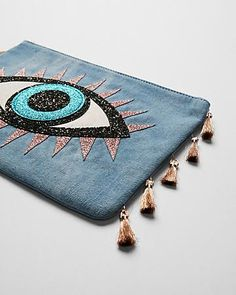 Denim Evil Eye Pouch
