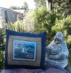 """Silk Chinese duck scene on cotton cushion cover 40 cm x 40 cm (15"""" x 15"""") - $40 NZD on Etsy - handmade by Hannah with love"""