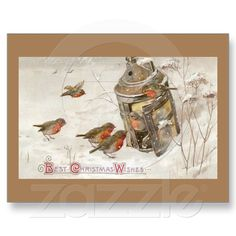 Birds Find Shelter in Lantern Vintage Christmas Postcards from Zazzle.com