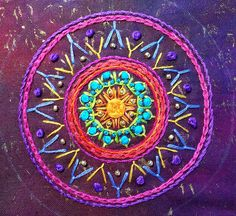 Building up an Embroidered Mandala Dorset Buttons, Paisley, Textiles, Mandala Tapestry, Pin Cushions, Art Images, Hand Stitching, Cross Stitch Embroidery, Art Pieces