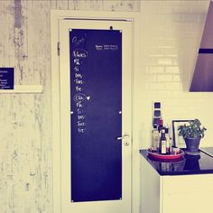 Chalk board door in the kitchen ~ ellas inspiration