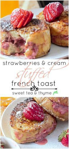 Thick slices of cinnamon-vanilla french toast are filled with strawberries and sweet cream cheese and blanketed in powdered sugar in under 20 mins. http://www.sweetteaandthyme.com