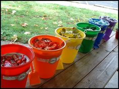 candy buckets to fill the party bags