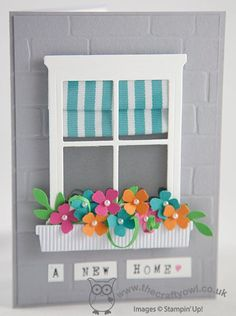 Learn how to make a Roman blind window treatment for this #NewHome card made using Stampin' Up!'s #HearthandHome Thinlits. The Crafty Owl | The daily blog of Joanne James <br />Independent Stampin' Up! Demonstrator -- <a href=mailto:joanne@thecraftyowl.co.uk>joanne@thecraftyowl.co.uk</a>