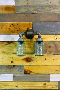 Unique Double Large Mason Jar Wall Sconce Light Black Iron Industrial Steampunk Style