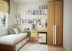 teen room, Small Bedroom Design Ideas With White Fur Rug With Wood Wardrobes Design And Desk And Chair For Interior Furniture Ideas With Wall Units Design With Glass Window With Single Drawer And Laminate Floor: Astounding Bedroom Ideas for Small Room