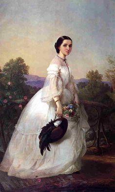 Sheer 1860s Dress in an original painting.