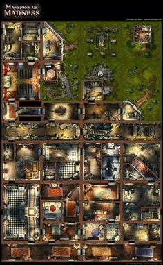 """This is a scaled down overview of """"Mansions of Madness"""", a new board game from Fantasy Flight games, from the Call of Cthulhu Arkham Horror line. Mansions of Madness, boardgame Dark Fantasy, Fantasy Map, Zombicide Black Plague, Cyberpunk, Lovecraft Cthulhu, Dnd Classes, Pathfinder Rpg, Dungeon Maps, Call Of Cthulhu"""