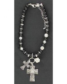 ༻✿༺ ❤️ ༻✿༺ Black Beaded Cross Charm Boot Bracelet ༻✿༺ ❤️ ༻✿༺