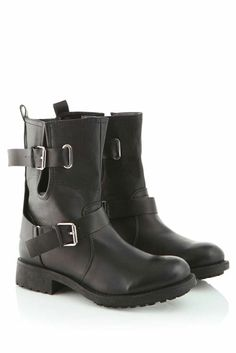 Jimmie Biker Boot with Strap in Black