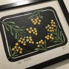 Lino Print Wattle Hand pulled and coloured Hand Coloring, Lino Prints, Image, Beautiful