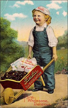 Cute Sells :) Kids on Advertising Postcards: Merchants Knew that Children Can Help Make a Sale - A Funke's chocolates advertising card. Vintage Labels, Vintage Ephemera, Vintage Cards, Vintage Postcards, Vintage Images, Poster Ads, Advertising Poster, Kids Barn, Advertising History