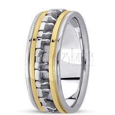 """An Exclusive Jewish Wedding Ring with a Hand Made center motif which means """"I am My Beloved's and My Beloved is Mine"""". Available in 14K Gold, 18K Gold & Platinum. / Style Number : HC100450"""