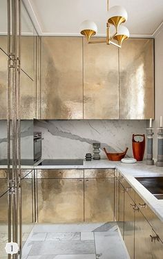 gold and marble kitchen