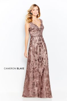 Cameron Blake Sleeveless embroidered lace and tulle gown, curved V-neckline and back, delicate beaded bodice, natural waistline, a-line skirt. Cameron Blake, Mob Dresses, Bride Dresses, Tulle Gown, Mothers Dresses, Groom Dress, Embroidered Lace, V Neck Dress, Designer Wedding Dresses