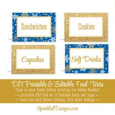 Winter Onederland Party Decorations - Royal Blue and Gold Glitter Party Food Tents - Folding Editable Text Buffet Labels - Table Place Cards  Thanks for checking out Sprinkled Designs!  This listing is for THREE 8.5x11 high resolution printable PDF file that contains (4) Foldable Food Tents per page. You may enter your food names (or any text youd like) onto the Food Tents by using Adobe Reader. Printing & assembly instructions are included with your download.  3 PDF FILES INCLUDE: ★ File #1…