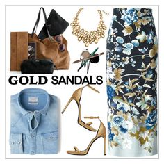 """""""Micro Trend: Solid Gold Sandals"""" by teoecar ❤ liked on Polyvore featuring Oscar de la Renta, MANGO, Kenzo, Yves Saint Laurent and goldsandals"""