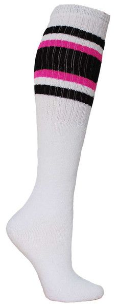 White knee high tube socks with black & pink stripes. Fits all sizes (no heel).