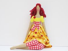 Lovely fabric doll in bright yellow dress red hair cute cloth doll art doll stuffed doll, rag doll Mothers day gift, birthday gift for girls