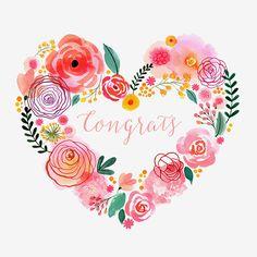 Margaret Berg Art: Pink Blooms Heart Wreath Congrats
