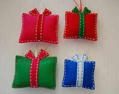 Felt Christmas ornaments. Gift box Christmas ornaments. Set of 4.