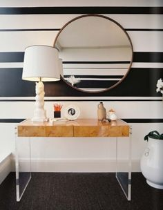 Decorating With Mirrors: Home Decorating interior design 2012 house design home design Lucite Desk, Lucite Furniture, Wood Furniture, Hooker Furniture, Office Furniture, Paint Stripes, Wall Stripes, Black Stripes, Painting Stripes On Walls