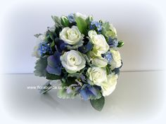 Blue forget-me-not, hydrangea and white spray roses in this delightful posy bouquet from Florabunda NZ Home Decor Floral Arrangements, Wedding Table Deco, White Spray Roses, Artificial Flowers, Silk Flowers, Shades Of Blue, Hydrangea, Wedding Flowers