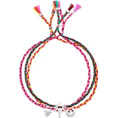 No.124 Set of Three Silver Charm Ribbons - Fatima Hand, Palm Tree, Smiley - Sorbet Bracelets