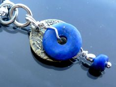 Round n Round Lapis Donut Pendant necklace sterling silver antique gold on Etsy, $20.00