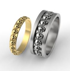 Skull ring set from Alien Forms Jewelry Skull Wedding Ring, Skull Engagement Ring, Wedding Engagement, Alternative Wedding Rings, Handfasting, Couple Rings, Ring Finger, Rings For Men, Jewelry