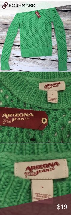 """Arizona Jean Co Sweater L Soft green sweater 25"""" in length. NWT perfect for holidays. Would look great with leggings/ jean and boots. B2 Arizona Jean Company Sweaters"""
