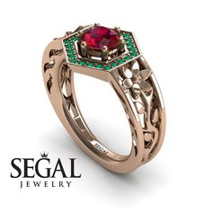 Unique Engagement Ring 14K Red Gold Flowers by SegalJewelry