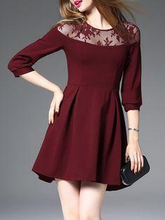 3e32d507da20 Shop Midi Dresses - Wine Red Cotton-blend Crew Neck Plain 3 4 Sleeve Midi  Dress online. Discover unique designers fashion at StyleWe.com.