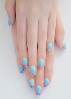 Blue & sparkly nails.