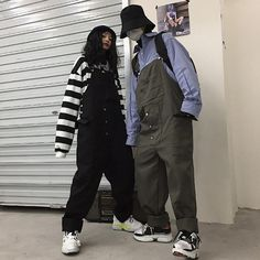 Material: polyester fiberColor: black, greenSize: M, LM pants length waist circumference hip circumference pants length waist. Asian Fashion, 90s Fashion, Fashion Outfits, Aesthetic Fashion, Aesthetic Clothes, Unisex Clothes, Unisex Outfits, Grunge Outfits, Look Cool
