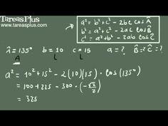 Teorema del coseno ejemplo 1 (dos lados y un ángulo) Decimal, Arabic Calligraphy, Math Equations, Trigonometry, Engineering, Shape, Law Of Cosines, Fractions, Finance