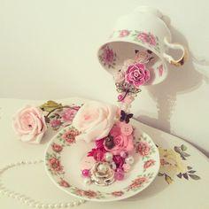 #vintage #teacup #flowers Vintage flying jewelled teacups ❤️