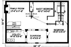 Lower Floor Plan of Contemporary   Earth Sheltered s Retro   House Plan 10416