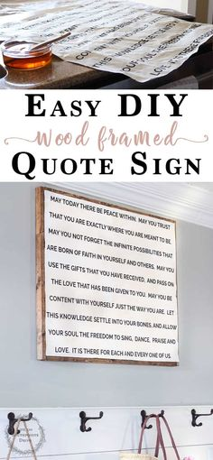 This easy DIY Quote Sign and it's rustic wooden frame were so easy to make and its customizable Diy Home Decor Projects, Diy Wood Projects, Decor Ideas, Home Decor Signs, Diy Wall Decor, Do It Yourself Inspiration, Wood Projects For Beginners, Shops, Framed Quotes