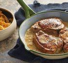 Χοιρινά μπριζολάκια με σάλτσα μουστάρδας και πουρέ καρότου Pork, Meat, Cyprus, Pork Roulade, Pigs
