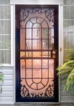Modern Security screen doors with contemporary designs/ Option 2 Security Screen Door, Glass Screen Door, Security Door, French Doors, Door Design, Iron Doors, Front Door, Glass Storm Doors, House Doors