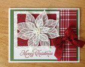 Stampin Up handmade Christmas card - white vellum poinsettias