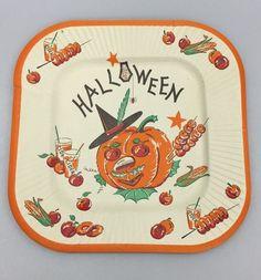 Vintage Halloween Paper Plate w/ Jack-O-Lantern Pumpkin Cider Cups Apples Corn