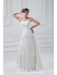 Taffeta Sweetheart Neckline Sweep Train A-Line Wedding Dress