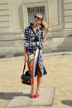 Our 25 Favorite Street Style Snaps from Paris Fashion Week: Natalie Joos proves that there's no point in packing coordinating outfits to travel when you can look this good mismatched.
