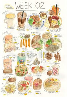 I love this girls food illustrations .... I'm sure my diet wouldn't look this colourful!