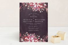 """""""Enchanting Plum"""" - Customizable Foil-pressed Wedding Invitations in Purple by…"""