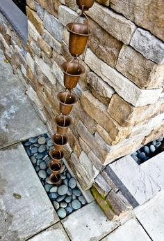 Flared Cups Copper Rain Chain