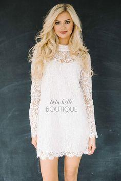 Elegant in Lace Dress in White
